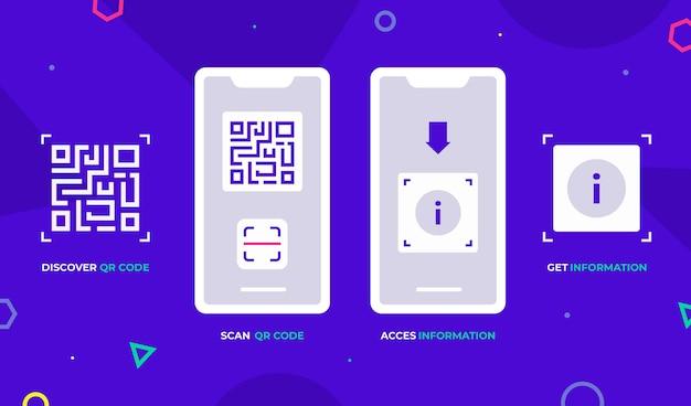 Шаги сканирования qr-кода на смартфоне Premium векторы
