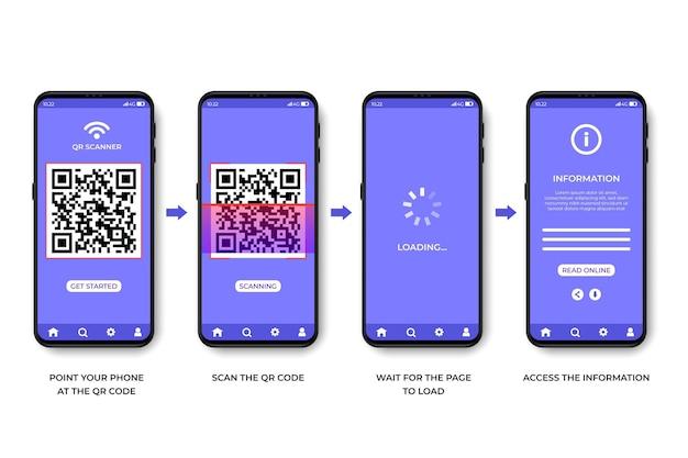 Шаги сканирования qr-кода на смартфоне Бесплатные векторы
