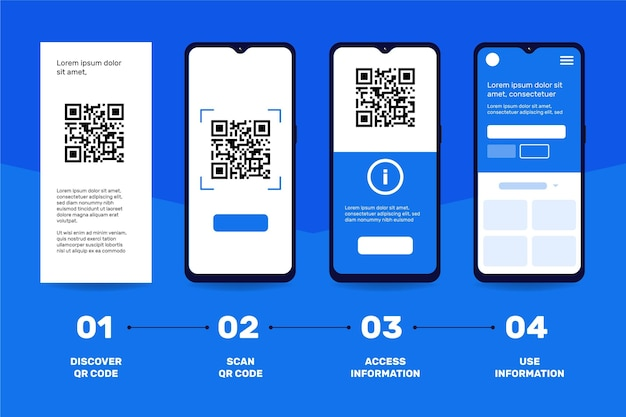 Qr code scan steps on smartphone theme Free Vector