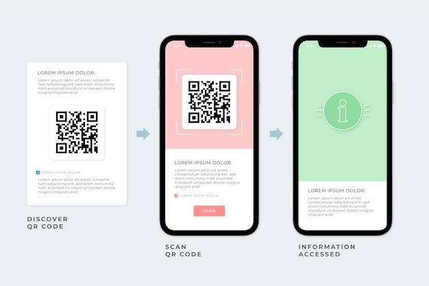Qr code scan steps on smartphone Premium Vector