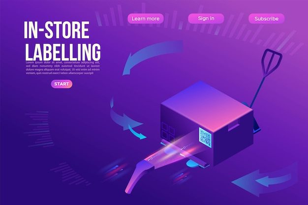 Qr code scanner reads tag on box, landing page template, warehouse label on a container, pallet with goods, mobile application for labelling cargo, marked package, 3d isometric Premium Vector