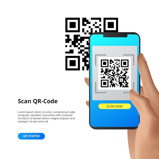 Qr code scanning camera smartphone concept for payment or everything. Premium Vector