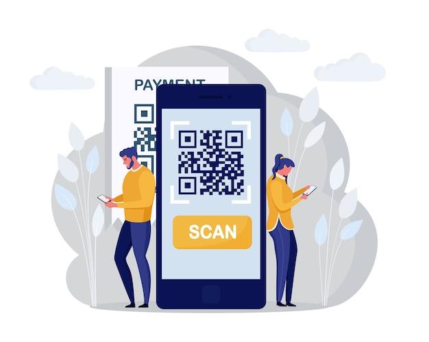Концепция сканирования qr-кода. персонажи используют мобильный телефон, сканируют штрих-код для онлайн-оплаты. приложение цифровых денег. мультфильм дизайн Premium векторы