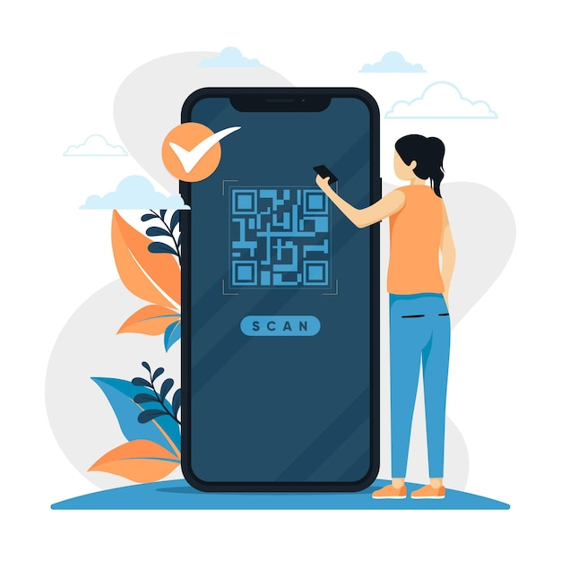 Qr code scanning concept with characters Premium Vector