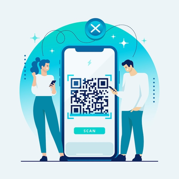 Qr code scanning concept with characters Free Vector