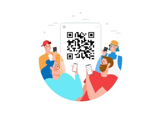 Концепция сканирования qr-кода с людьми, сканирующими код, используя смартфон для оплаты плоской иллюстрации. рука с pnone и сканированием штрих-кода Premium векторы