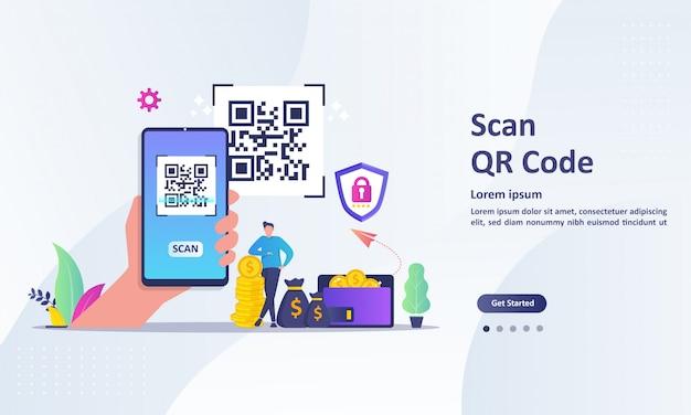スマートフォンを使用してコードをスキャンする人々とqrコードスキャンの概念 Premiumベクター