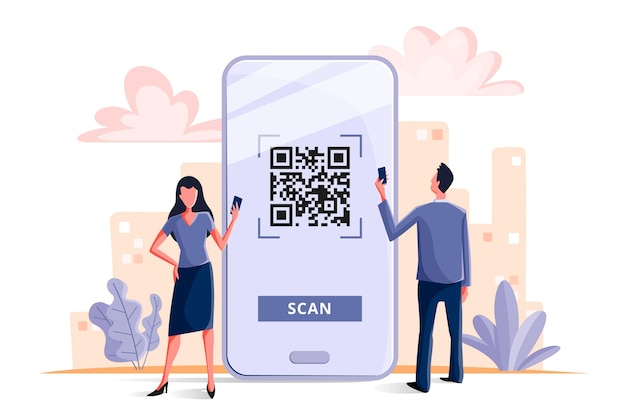Qr code scanning concept Free Vector