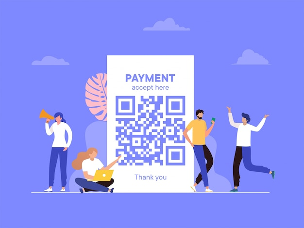 Qr code scanning  illustration , people use smartphone and scan qr code for payment Premium Vector