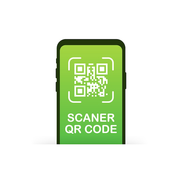 Qr code scanning like linear black phone.  of pixel art square, product, promotion label, telephone, screen, device.  illustration. Premium Vector