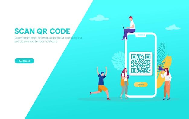 Qrコードスキャンベクトルイラストコンセプト、人々はスマートフォンを使用し、支払いのためにqrコードをスキャンします Premiumベクター