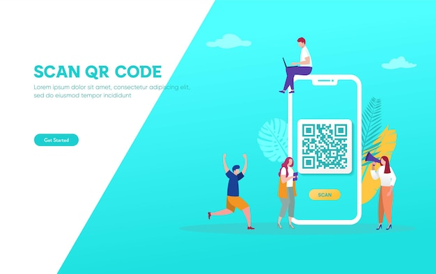 Qr code scanning vector illustration concept, people use smartphone and scan qr code for payment Premium Vector