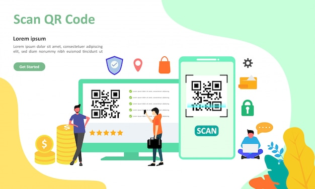 Qr code scanning vector illustration подходит для веб-целевой страницы Premium векторы