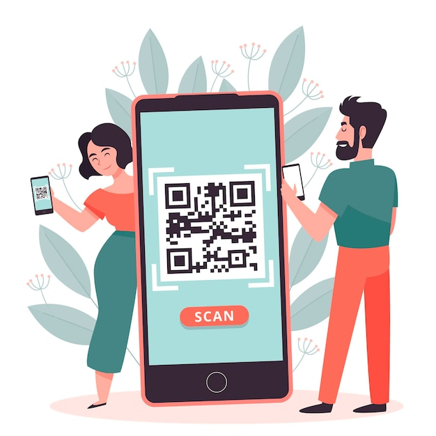 Qr code scanning with characters concept Free Vector