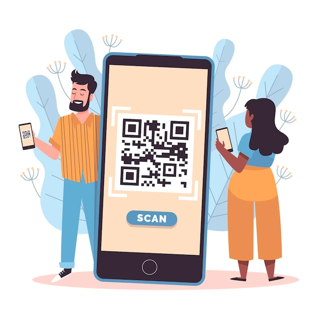Qr code scanning with characters Free Vector