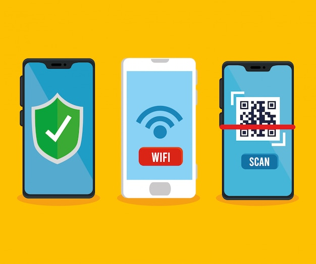 Qr code shield and wifi inside smartphones vector design Free Vector