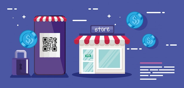 Qr code smartphone store padlock and coins design of technology scan information business price communication barcode digital and data theme vector illustration Premium Vector