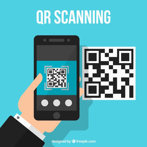 Qr code technological background Free Vector