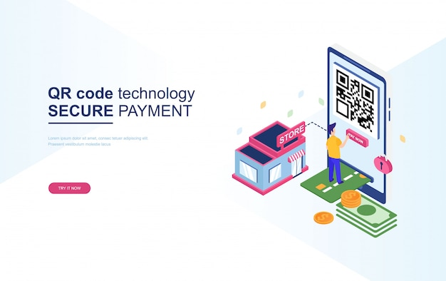 Qr code technology, secure payment isometric Premium Vector