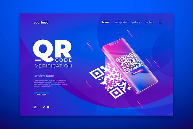 Qr code verification landing page template Free Vector