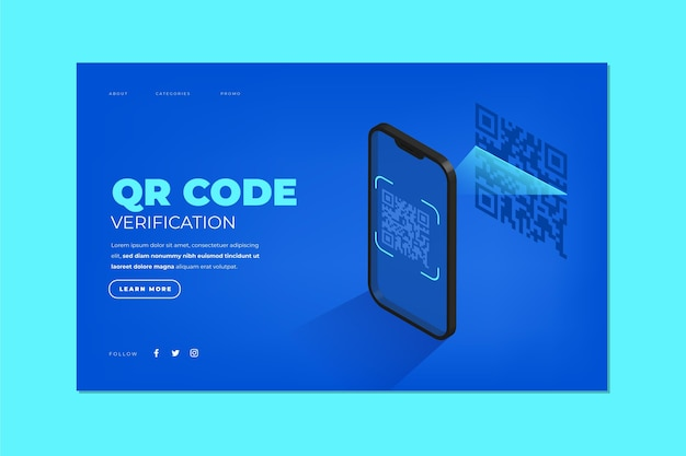Qr code verification - landing page Free Vector