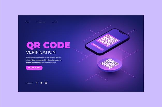 Проверка кода qr - целевая страница Бесплатные векторы