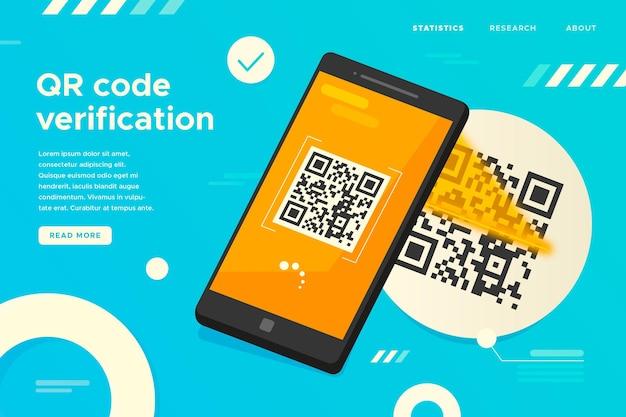 Qr code verification landing page Premium Vector
