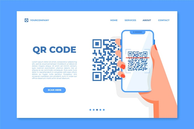 Qr code verification landing page Free Vector