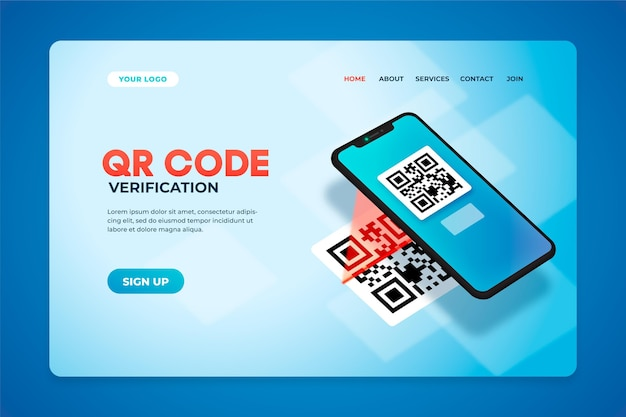 Qr code verification landing page Free Vector