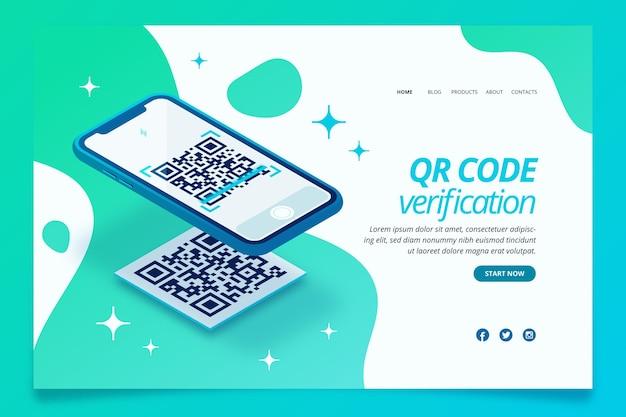 Pagina di destinazione verifica codice qr Vettore gratuito