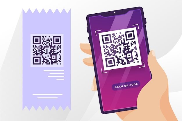 Qr code with hand holding phone Free Vector