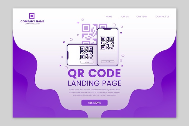 Qr verification code web page template Free Vector