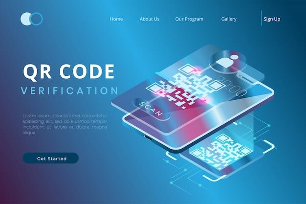 Проверьте qr-код, используя приложение на смартфоне с концепцией изометрических целевых страниц и веб-заголовков. Premium векторы