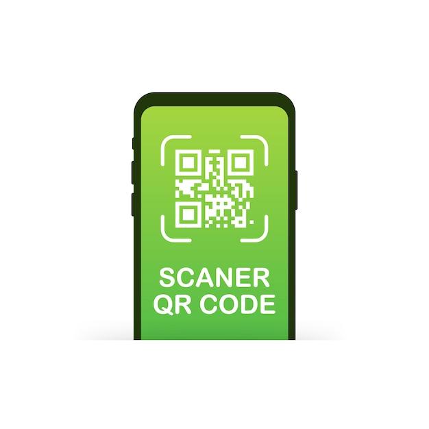 線形の黒い電話のようなqrコードスキャン。ピクセルアート広場、製品、プロモーションラベル、電話、画面、デバイスの。図。 Premiumベクター