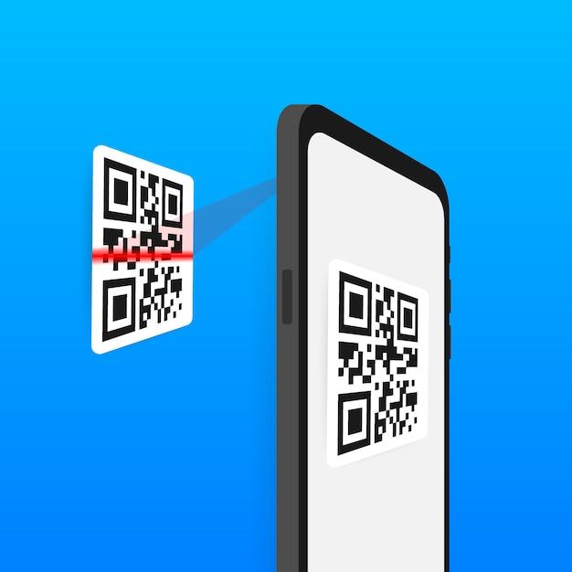 Сканируйте qr-код на мобильный телефон. электронные, цифровые технологии, штрих-код. Premium векторы