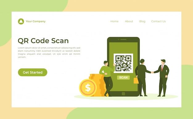 Целевая страница сканирования qr-кода Premium векторы