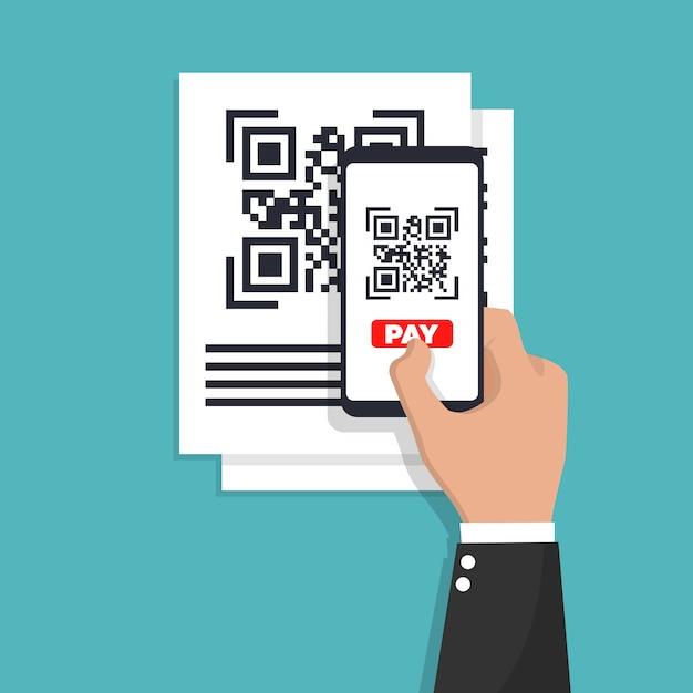 Сканирование qr-кода с телефона. штрих-код. Premium векторы