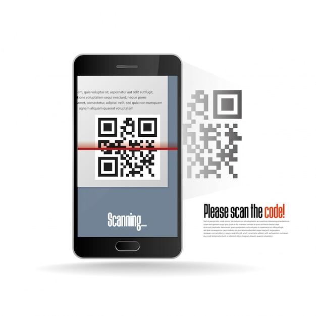 現実的な携帯電話でqrコードスキャン Premiumベクター