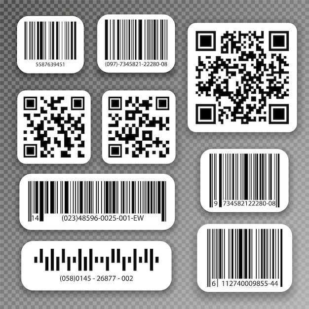 Qrコードとバーコードラベル。産業用バーコードラベル。 Premiumベクター