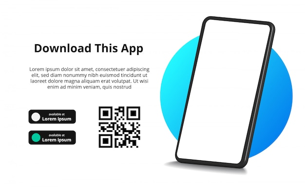 Страница баннерной рекламы для скачивания приложения для мобильного телефона, смартфона. скачать кнопки с шаблоном сканирования qr кода. Premium векторы