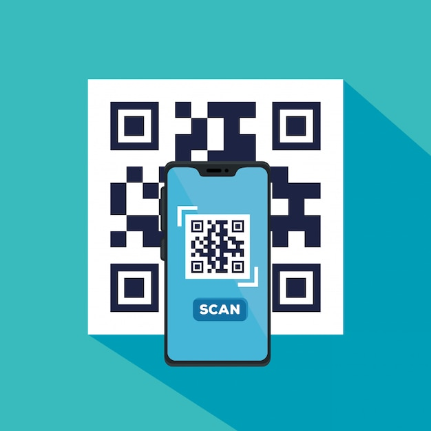 スマートフォンのイラストデザインでqrコードをスキャンする 無料ベクター