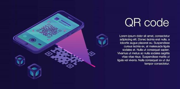 Qr код концепции баннера, изометрический стиль Premium векторы