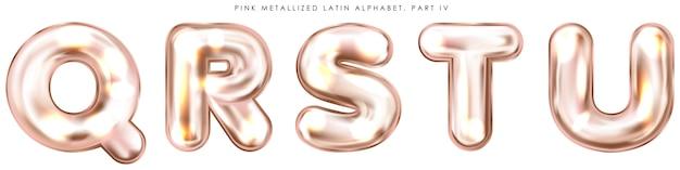 パールピンクホイルバルーン、膨らんだアルファベットのシンボルqrstu Premiumベクター