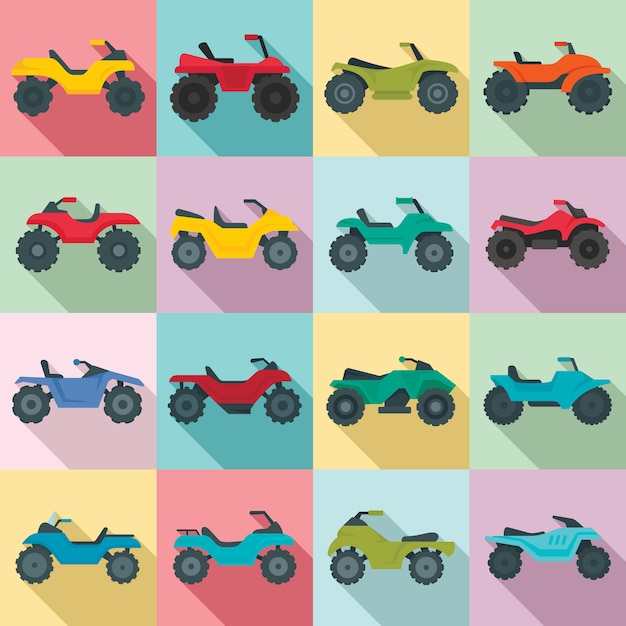 Quad bike icons set, flat style Premium Vector