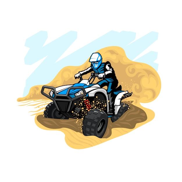 ほこりや砂のある砂漠のクワッドバイク Premiumベクター
