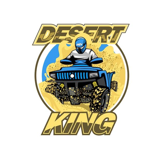 砂漠の丘のロゴ、孤立した背景のクワッドバイク。 Premiumベクター