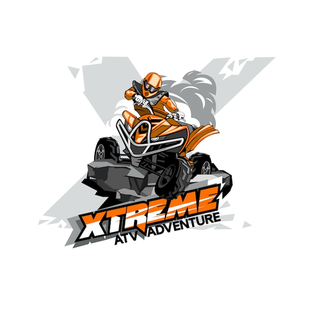 Quad bike off-road atv logo, extreme adventure Premium Vector