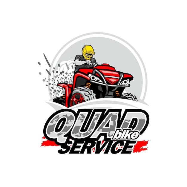 Quad bike service logo Premium Vector