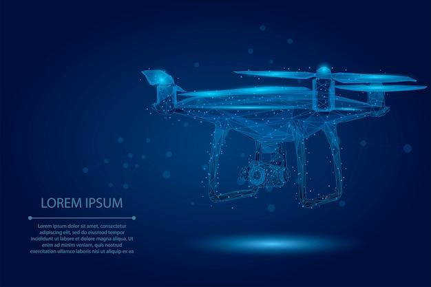 Абстрактная линия месива и точка quadrocopter. полигональный низкополигональный 3d летающий дрон Premium векторы