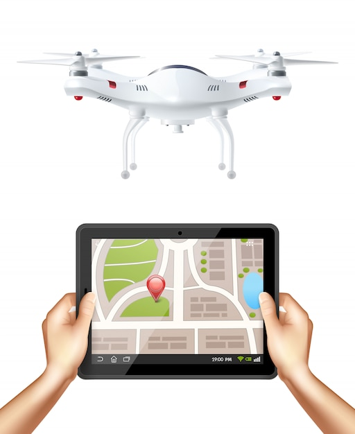 Quadrocopter and hands holding tablet Free Vector